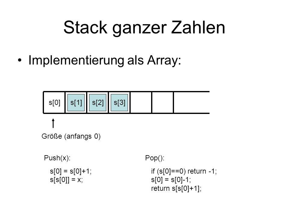 Stack ganzer Zahlen Implementierung als Array: s[0] s[1] s[2] s[3]